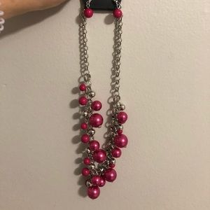 Pink and Silver Necklace and Earring Set